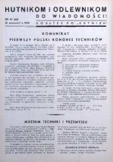 Hutnikom i Odlewnikom do Wiadomości! 1938, nr 43