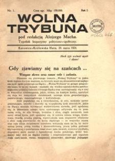 Wolna Trybuna. Tygodnik bezpartyjmy polityczno-społeczny. 1924, R. 1, nr 1