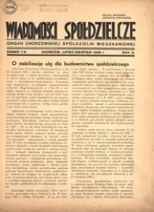 Wiadomości Spółdzielcze. Organ chorzowskiej spółdzielni mieszkaniowej. 1939, R. 2, nr 7-8