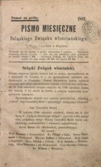 Pismo Miesięczne Szląskiego Związku Włościańskiego, 1882, Numer na próbę