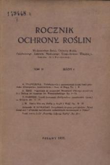 Rocznik Ochrony Roślin, 1937, T. 4, zeszyt 4