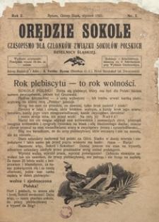 Orędzie Sokole, 1921, R. 2, Nr. 1