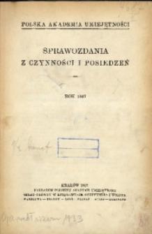 Sprawozdania z Czynności i Posiedzeń Polskiej Akademii Umiejętności, 1937, T. 42, Spis rzeczy