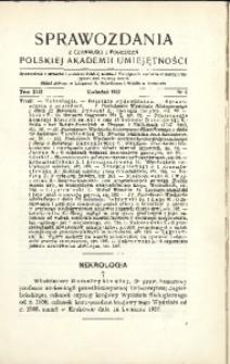 Sprawozdania z Czynności i Posiedzeń Polskiej Akademii Umiejętności, 1937, T. 42, Nr 4