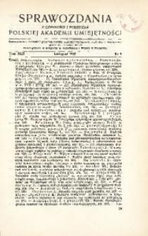 Sprawozdania z Czynności i Posiedzeń Polskiej Akademii Umiejętności, 1937, T. 42, Nr 9