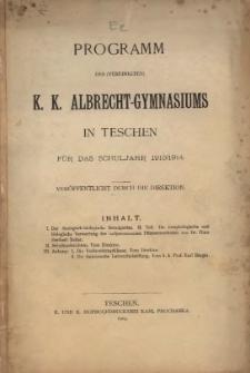 Programm des (vereinigten) k. k. Albrecht-Gymnasiums in Teschen, 1913/1914