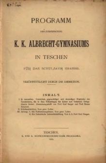 Programm des (vereinigten) k. k. Albrecht-Gymnasiums in Teschen, 1914/1915
