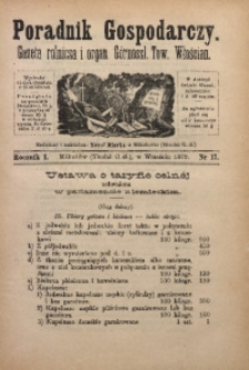 Poradnik Gospodarczy, 1879, R. 1, Nr. 17