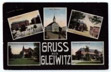 Gruss aus Gleiwitz. Ulanen-Kaserne. Altes Rathaus. Ulanen-Kaserne. Städt. Garten-Inspektion. Ulanen-Offizier-Kasino