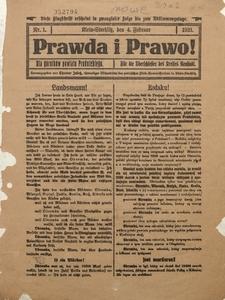 Prawda i Prawo dla Górników Powiatu Prudnickiego, 1921, Nr. 1