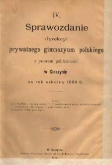 Sprawozdanie Dyrekcyi Prywatnego Gimnazyum Polskiego w Cieszynie, 1898/1899