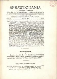 Sprawozdania z Czynności i Posiedzeń Polskiej Akademii Umiejętności, 1935, T. 40, Nr 1