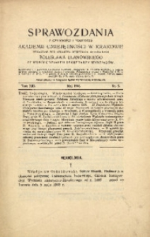 Sprawozdania z Czynności i Posiedzeń Akademii Umiejętności w Krakowie, 1908, T. 13, Nr 5
