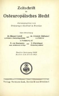 Zeitschrift für osteuropäisches Recht. Im Auftrage des Osteuropa-Instituts in Breslau, 1926, Jg. 2, H. 2/3
