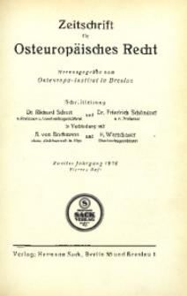 Zeitschrift für osteuropäisches Recht. Im Auftrage des Osteuropa-Instituts in Breslau, 1926, Jg. 2, H. 4