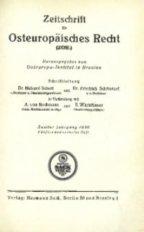 Zeitschrift für osteuropäisches Recht. Im Auftrage des Osteuropa-Instituts in Breslau, 1926, Jg. 2, H. 5/6