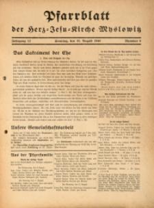 Pfarrblatt der Herz-Jesu-Kirche Myslowitz, 1940, Jg. 12, Nr. 8