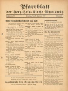 Pfarrblatt der Herz-Jesu-Kirche Myslowitz, 1941, Jg. 13, Nr. 1