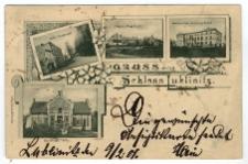 Gruss aus Schloss Lublinitz. Adler Restaurant. Provinzial Pflege Anstalt. Grottowski'sche Erziehungs-Anstalt. Kielmann's Villa