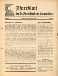 Pfarrblatt der Hl. Kreuzkirche in Laurahütte, 1941, Jg. 6, Nr. 4