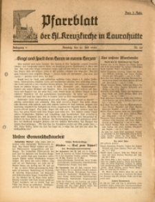 Pfarrblatt der Hl. Kreuzkirche in Laurahütte, 1940, Jg. 5, Nr. 29