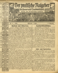 Der praktische Ratgeber für Haus- und Landwirtschaft, 1913, Jg. 5, Nr. 6