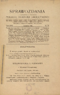 Sprawozdania z Czynności i Posiedzeń Polskiej Akademii Umiejętności, 1922, T. 27, Nr 10