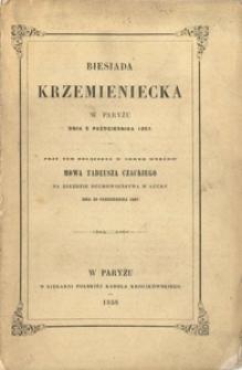 Biesiada Krzemieniecka w Paryżu dnia 5. października 1857