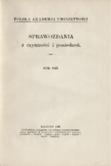 Sprawozdania z Czynności i Posiedzeń Polskiej Akademii Umiejętności, 1929, T. 34, Spis rzeczy