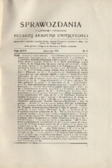 Sprawozdania z Czynności i Posiedzeń Polskiej Akademii Umiejętności, 1929, T. 34, Nr 6