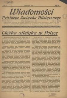 Wiadomości Polskiego Związku Atletycznego, 1937, R. 3, nr 17