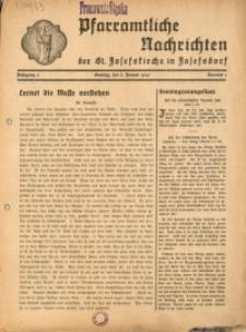 Pfarramtliche Nachrichten der St. Josefskirche in Josefsdorf, 1941, Jg. 6, Nr. 1