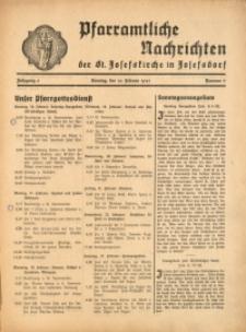 Pfarramtliche Nachrichten der St. Josefskirche in Josefsdorf, 1941, Jg. 6, Nr. 7
