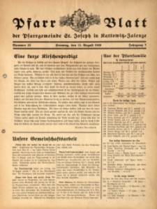 Pfarrblatt der Pfarrgemeinde St. Joseph in Kattowitz-Zalenze, 1940, Jg. 7, Nr. 32