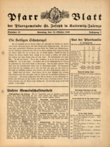 Pfarrblatt der Pfarrgemeinde St. Joseph in Kattowitz-Zalenze, 1940, Jg. 7, Nr. 41