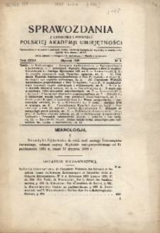 Sprawozdania z Czynności i Posiedzeń Polskiej Akademii Umiejętności, 1930, T. 35, Nr 1