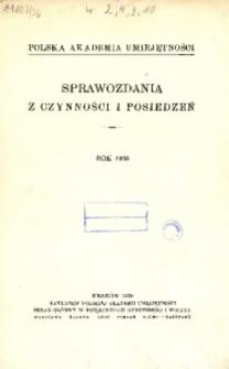 Sprawozdania z Czynności i Posiedzeń Polskiej Akademii Umiejętności, 1938, T. 43, Nr Spis rzeczy