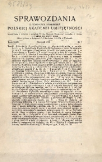 Sprawozdania z Czynności i Posiedzeń Polskiej Akademii Umiejętności, 1938, T. 43, Nr 1
