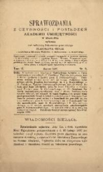 Sprawozdania z Czynności i Posiedzeń Akademii Umiejętności w Krakowie, 1897, T. 2, Nr 3