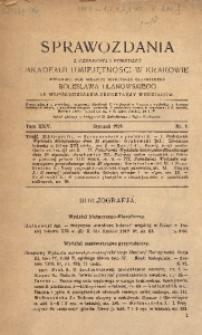 Sprawozdania z Czynności i Posiedzeń Akademii Umiejętności w Krakowiei, 1919, T. 24, Nr 1