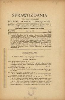 Sprawozdania z Czynności i Posiedzeń Polskiej Akademii Umiejętności, 1921, T. 26, Nr 6