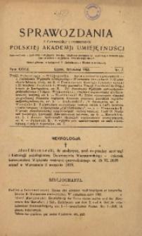Sprawozdania z Czynności i Posiedzeń Polskiej Akademii Umiejętności, 1923, T. 28, Nr 7