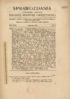 Sprawozdania z Czynności i Posiedzeń Polskiej Akademii Umiejętności, 1927, T. 32, Nr 6