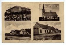 Pozdrowienie z Jasienicy (Na Śląsku). Szkoła. Kościół katolicki.Willa P.P. Borkowskich. Restauracja p. Lorka