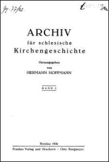 Archiv für Schlesische Kirchengeschichte. Bd. 1