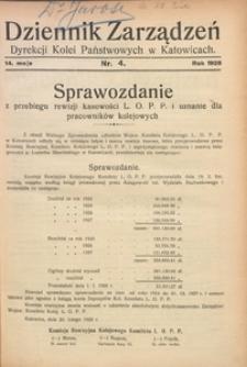 Dziennik Zarządzeń Dyrekcji Kolei Państwowych w Katowicach, 1928, Nr. 4