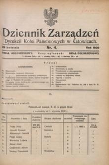 Dziennik Zarządzeń Dyrekcji Kolei Państwowych w Katowicach, 1929, Nr. 4
