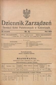 Dziennik Zarządzeń Dyrekcji Kolei Państwowych w Katowicach, 1929, Nr. 8