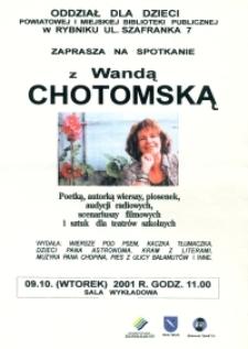 Afisz. Spotkanie z Wandą Chotomską