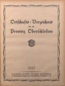 Ortschafts-Verzeichnis für die Provinz Oberschlesien